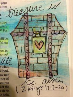 Bible journaling. Lay up treasures in heaven. Matthew 6:21