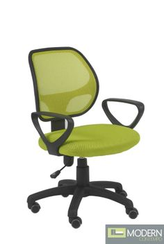 Spice up your office decor with this mesh-back office chair with a vibrant lime-green seat and back. Lime green mesh back and upholstered seat. Black polypropylene adjustable armrests and nylon base. Style # at Lamps Plus. Used Office Chairs, Used Office Furniture, Best Office Chair, Swivel Office Chair, Home Office Chairs, Cool Furniture, Office Decor, Outdoor Furniture Chairs, Desk Chairs
