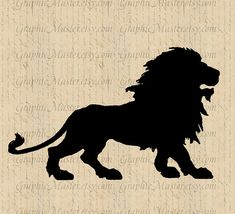 Lion Silhouette JPG PNG Clip Art Digital Collage Sheet Image Instant Download Printable Graphics Iron On Transfer Fabric Pillows Animals 153...