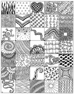 """While making my first 4 Zentangles I started making samples of possible new designs and drew them in 1 1/4"""" size one single sheet of paper. Here is what I came up with."""