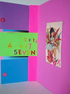 """In the Pink"" Birthday Flag Book ""U R Seven"""