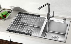 800*450*220mm Stainless steel undermount kitchen sinks sets Double bowl Drawing Double drainer Handmade seamless welding sink