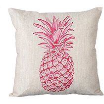 "Monkeysell Stylish Colorful cartoon Pineapple hand-painted figure linen quare Decorative Fashion Throw Pillow Cover -18""X18"" (S038A5)"