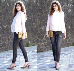 Topshop Shirt, Zara Blazer, Zara Jeans, H&M Heels