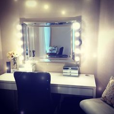 Love this #vanity for doing #makeup like a pro! Use our #LED lights to brighten up the space even more, PLUS save money and energy by doing so! www.maxximastyle.com