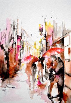 Love Kiss Romance Watercolor Original Illustration - Travel Paris Red Umbrella Watercolor  www.lanasart.etsy.com available now