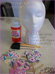 Styrofoam head, mod podge, and scrapbook paper! Makes a great hat display. Styrofoam Crafts, Styrofoam Head, Paper Scrapbook, Decoupage, Hat Display, Display Ideas, Craft Fair Displays, Booth Displays, Mannequin Heads