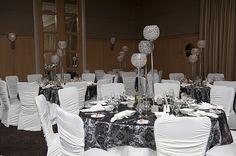 Vaughan wedding venue crystal globe centerpieces black and grey overlays