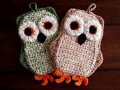 crochet owl potholders!!!