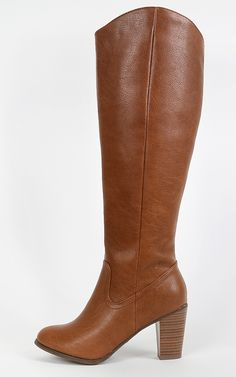 Clean knee high boots with a chunky heels! Love these! | MakeMeChic.com