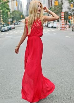 simple red maxi summer dress 2015