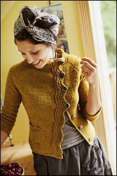 Levenwick cardi by Gudrun Johnston for Brooklyn Tweed. LOVE the ruffly front and the mustard color!