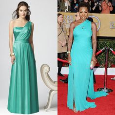Brides.com: Celebrity-Inspired Bridesmaid Dresses. Get the Look: Viola Davis looked gorgeous at the 2013 SAG Awards in a one-shoulder (how on-trend for bridal!) turquoise Monique Lhuillier dress. Want to outfit your bridal party in this bold style? This glam Dessy gown gets the draped, vibrant-hued look just right.  Full-length, one-shoulder dress, style 2863, $250, Dessy  See more Dessy bridesmaid dresses.  Shop this look at Weddington Way.