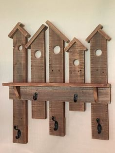 Birdhouse Coat Rack. Made from Reclaimed Fence by AaronsBirdhouses #woodworkingideas