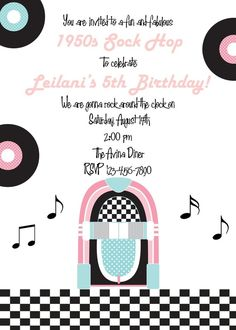 Invitation- 1950's Sock Hop Collection by Printable Parties