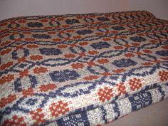 19th Century Linen Wool Coverlet Woven Jacquard w Border Antique Textile | eBay
