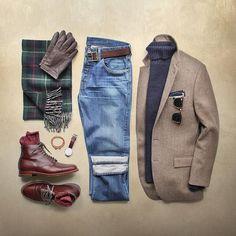 This winter feeling. Boots: @brickmortarseattle Alden Straight Tip Chromexcel Blazer: @jcrew Sweater: @grayers Scarf: @ralphlauren Belt/Bracelet: @caputoandco Gloves: @bananarepublic Pocket Square: @thetiebar Denim: Wallace and Barnes @jcrew Glasses: @rayban Clubmaster Watch: @danielwellington by thepacman82
