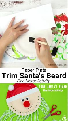 This educational Santa craft idea is a great Christmas craft for toddlers and preschoolers. This Trim The Beard Paper Plate Santa Craft is so cute and gives kids lots of opportunity to develop  fine motor cutting skills and have fun! Such a fun and educational Christmas craft for kids. #kidscraftroom #santa #santacrafts #paperplatecrafts #christmas #christmascrafts #christmascraftskids #fatherchristmas #fatherchristmascrafts #kidscrafts #finemotorskills Christmas Arts And Crafts, Santa Crafts, Christmas Crafts For Toddlers, Winter Crafts For Kids, Christmas Activities, Xmas Crafts, Diy Crafts For Kids, Kids Christmas, Halloween Crafts