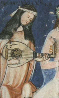 Andalusian lute, from the 1283 AD book, The Book of Chess, Dice and Board Games, St. Lorenze del Escorial, Madrid. The book was made for or commissioned by Alfonso X, king of Castile and León.