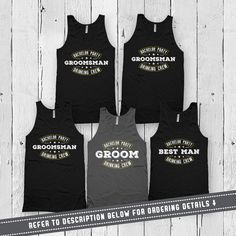 Groom and Groomsmen Tanks  - Leave the quantity at 1 - Use the dropdown menu to select the number of tank tops youd like to purchase - Default Color is Asphalt for the Groom and Black for the Grooms Party - Size Chart is located in Picture 2 - Please leave a note upon checkout under the Notes to Seller section stating the quantity, sizes and designs youd like (i.e. 1 Small - Groom, 1 Small - The Best Man, 2 Large - The Groomsman) - All Unisex Tank Tops are American Apparel branded - Please…