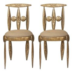 Pair of Rare Brutalist Gilt Metal Side Chairs | From a unique collection of antique and modern chairs at https://www.1stdibs.com/furniture/seating/chairs/