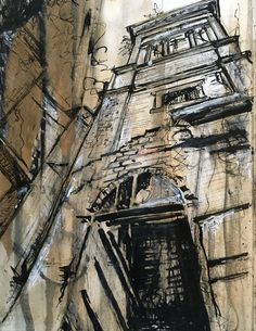 Derelict spaces - The Locarno Building Swindon. Mixed media drawing by L Waddell