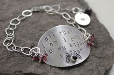 All That I Am Sterling Silver And Garnet Hand Stamped by lissa73, $65.00