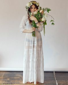 Boho bride: Wearing flower head pieces, and sporting disheveled hair, the 25-year-old barefoot actress, who plays uptight Shoshana in the HBO series, effortlessly pulls off a bohemian bride