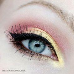 Gold & Pink makeup Gold & Pink Make-up Makeup Eye Looks, Eye Makeup Art, Pink Makeup, Cute Makeup, Pretty Makeup, Eyeshadow Makeup, Eyeliner, Hair Makeup, Yellow Makeup