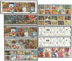 Greetings Booklet Stamps 1990 - 1997. Unmounted strips of 10.£7.75