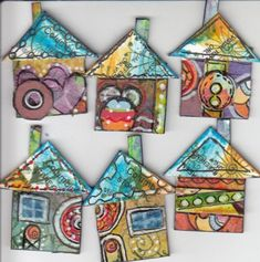 a-thon Inchie Houses Inchies, Decoupage, Art Trading Cards, Fabric Postcards, Arts And Crafts, Paper Crafts, Fabric Journals, Mail Art, Painting For Kids