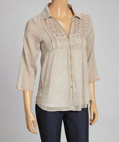 Another great find on #zulily! Taupe Floral Embroidered Button-Up Top #zulilyfinds