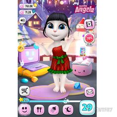 This is my festive outfit! I enjoy it so much <3 Find this dress in the latest My Talking Angela app update.  xo, Talking Angela #TalkingAngela #MyTalkingAngela #LittleKitties