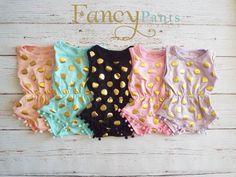 Baby Girls Clothes Baby Girl Romper Pom Pom by byFancyPants