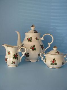 Lefton China Christmas Tea Set Vintage Japan 1974