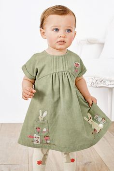 Buy Green Embroidered Cord Dress And Tights (0mths-2yrs) online today at Next: United States of America