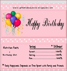 Happy Birthday Candy Wrapper Template | Gifts That Say WOW: Free Printable Happy Birthday Candy Wrapper