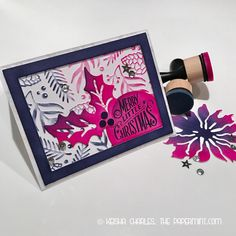 """""""Pink like you mean it"""" Christmas card designed by me at the PaperMint.com. This is the 2nd design in a set of 3 that feature the Tim Holtz doodle greetings Stamp set with distress ink and a Darice embossing folder."""