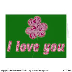 Happy Valentine Irish Shamrock Hearts Typography