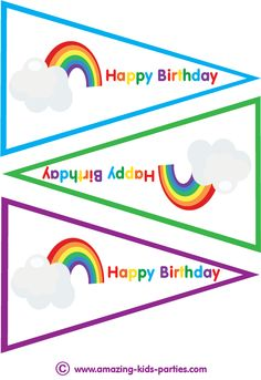 FREE Kids Rainbow Party Flags at http://www.amazing-kids-birthday-party-ideas.com/kids-party.html