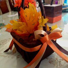 DIY fall flower girl basket for my wedding.