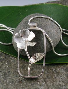 Sterling Silver Rectangular Flower Pendant Necklace-Handmade. $117.00, via Etsy.
