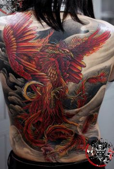 vivid phoenix tattoo design on the back
