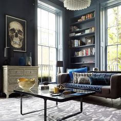 View all our living room ideas, like these moody blues