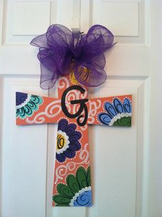 Wooden Decorative Cross Door Hanger, Spring Door Hanger, Summer Door Hanger via Etsy