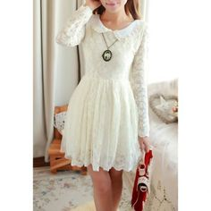 Casual Peter Pan Collar Lace Embroidery Faux Pearl Long Sleeve Dress For Women, WHITE, S in Vintage Dresses | DressLily.com