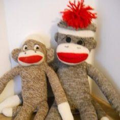 vintage sock monkey duo