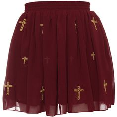 Hearts Bows Ox Blood Oregon Cross Skater Skirt ❤ liked on Polyvore featuring skirts, bottoms, saias, red, red skirt, chiffon skater skirt, red circle skirt, chiffon skirt and red skater skirt