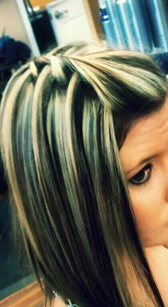 waterfall twist and blonde highlights in dark hair Love Hair, Great Hair, Gorgeous Hair, Awesome Hair, My Hairstyle, Pretty Hairstyles, Braided Hairstyles, Brunette Hairstyles, Waterfall Twist