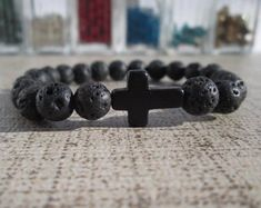 Sideway Cross Bead Bracelet Gift Christian Sideways Cross Mens Cross Bracelet, Faith Bracelet Christian Jewelry Baptism Gift Dad Avail At SpuzzoWoodworking.com Mens Cross Bracelet, Cross Bracelets, Beaded Bracelets, Religious Gifts, Religious Jewelry, Or Mat, Sideways Cross, Confirmation Gifts, Advertise Your Business